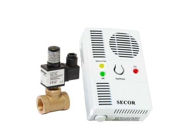 Detector de gaz metan si monoxid Secor 2000 cu electrovalva de alama 1, detector dual, 5 ani durata de viata